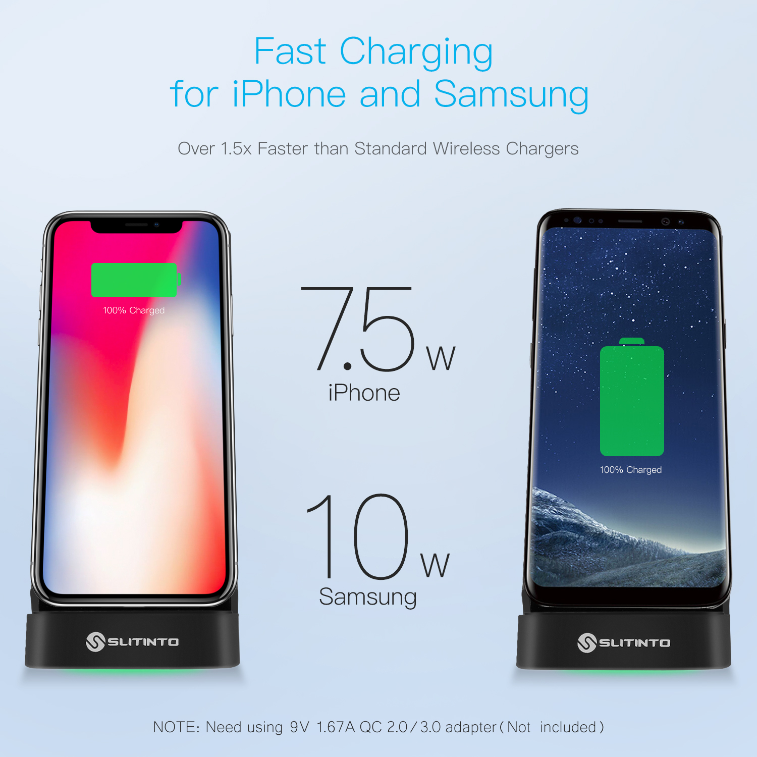 slitinto Wireless Charger, 7.5W Fast Wireless Charging Stand Compatible iPhone XS MAX/XR/XS/X/8/8 Plus, 10W Fast Wireless Charger Stand Compatible Galaxy Note 9/8/5 S9/ S9+S8/S8+(with LED Light)